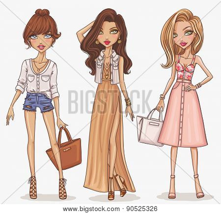 Beautiful and stylish fashion girl set. Hand drawn girls in spring-summer outfits. Vector illustration.