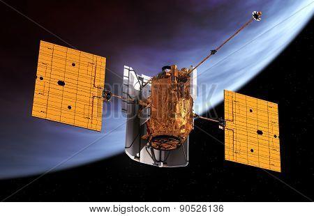 Interplanetary Space Station Orbiting Planet