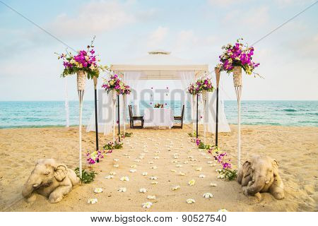 Beautiful place for romantic dinner on the beach. Samui island, Thailand. poster