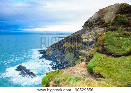 Irish landscape. Coastline atlantic ocean rocky coast scenery. County Cork Ireland Europe poster
