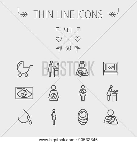 Medicine thin line icon set for web and mobile. Set includes- breastmik, breastfeed. crib icons. Modern minimalistic flat design. Vector dark grey icon on light grey background. poster