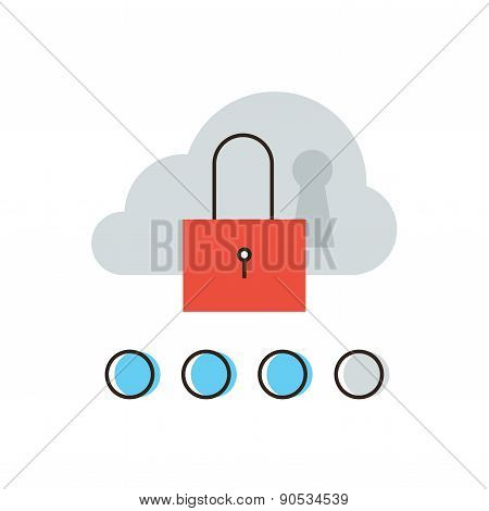 Cloud Security Flat Line Icon Concept