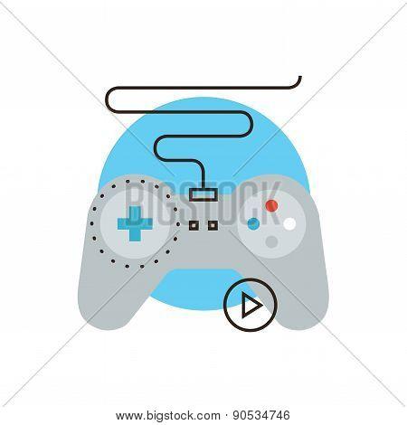 Game Joystick Flat Line Icon Concept
