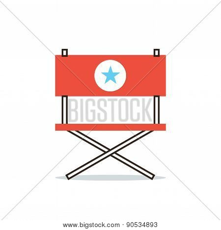 Director Chair Flat Line Icon Concept
