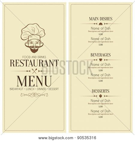 Restaurant menu design, with funny chef