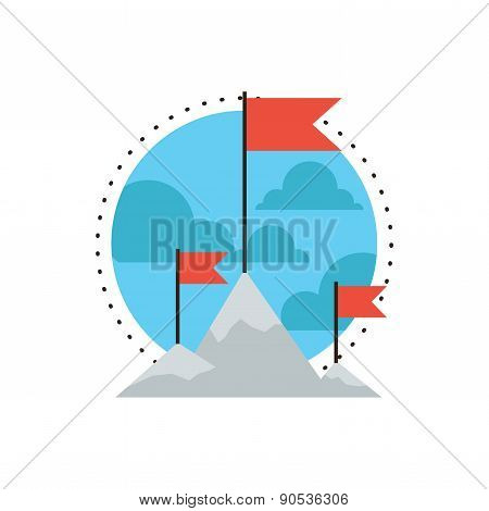 Mountain Peak Flat Line Icon Concept