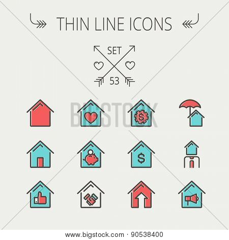 Real Estate thin line icon set for web and mobile. Set includes -housing loan, mortgage, contoured house, saving, house insurance, broker, house alarm icons. Modern minimalistic flat design. Vector