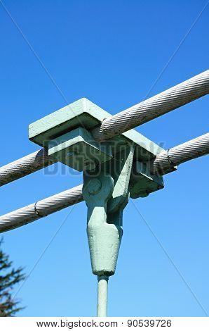 Suspension bridge cable support.
