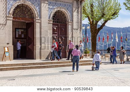 Sao Bento da Porta Aberta, Portugal. April 06, 2015: Devout walks the Penitential Path on knees around the Church. Pope Francis promoted the Sanctuary to Basilica in the 400th anniversary, March 21st