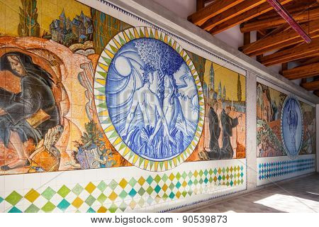 S. Bento da Porta Aberta, Portugal. April 06, 2015: Adam, Eve and Eden. Crypt tiles with Bible and St Benedict life. Pope Francis raised the Sanctuary to Basilica in the 400th anniversary, March 21st