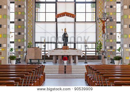 Terras de Bouro, Portugal. April 06, 2015: Altar of the Crypt of the Sao Bento da Porta Aberta Sanctuary. Pope Francis promoted the sanctuary church to Basilica in the 400th anniversary on March, 21st