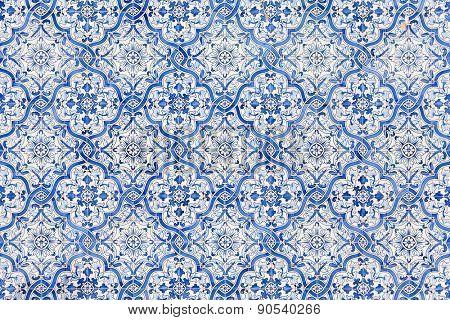 Sao Bento da Porta Aberta, Portugal. April 06, 2015: Typical Portuguese blue tiles decorating the Sanctuary facade. Pope Francis promoted the Sanctuary to Basilica in the 400th anniversary, March 21st