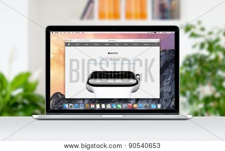 Apple Macbook Pro Retina With An Open Tab In Safari Which Shows Apple Watch Web Page
