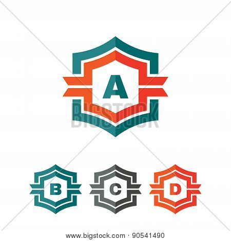Abstract geometric monogram vector logo concept illustration.