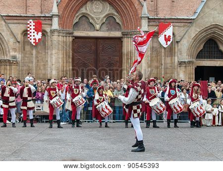 Bugler And Drummer, In Medieval Reenactment Costumes