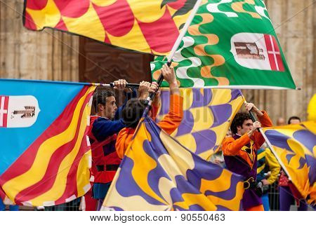 Flags Performers In Medieval Costumes