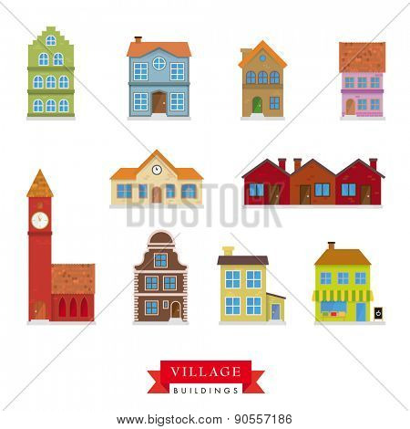 Old Village Buildings Vector Set. Collection of 10 flat design buildings typical of old villages