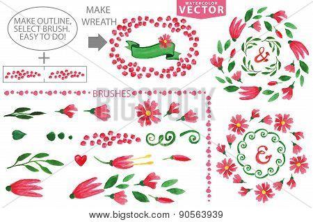 Watercolor floral brushes and wreath set.Vintage laurels frame