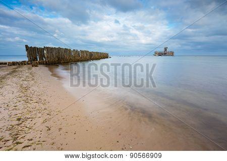 Baltic Sandy Coast With Old Military Buildings From World War Ii