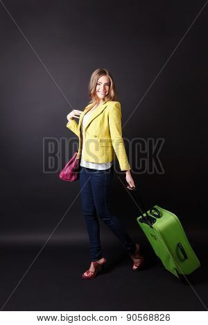 Pretty Woman Walking With A Suitcase