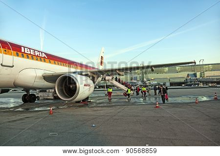 Aircraft Standing At Terminal 2 In Frankfurt