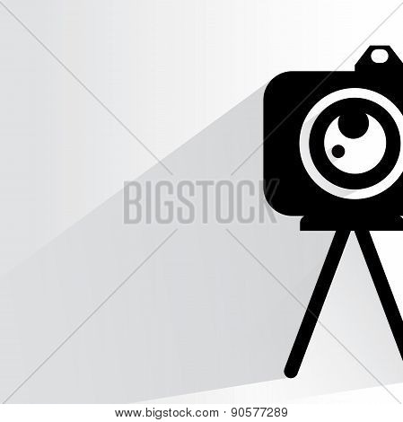 camera and tripod with drop shadow on white background poster