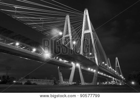 Cable Bridge At Night (black And White)