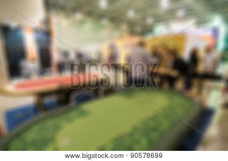 Generic trade show image with blurred defocusing - concept of big business social gathering for international meeting exchange poster