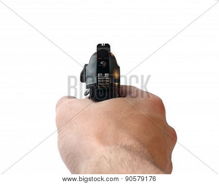 Hand With Aiming Pistol