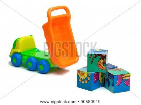 Toy Truck Unloading Bricks