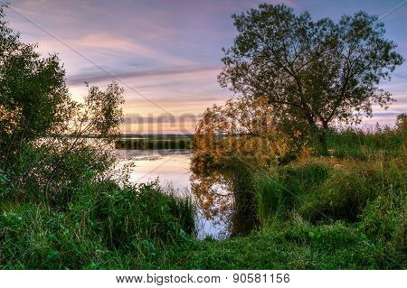 Sunrise At Shore Of A Pond