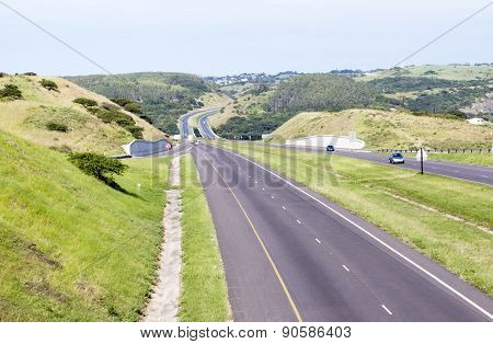 Double Lane Highway With Off Ramp And On Ramp