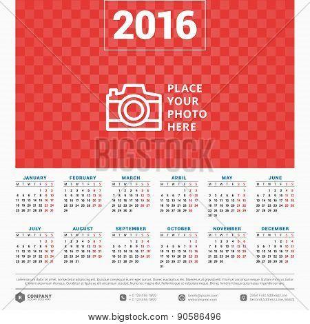 Calendar 2016 Vector Design Template. Week starts Monday poster
