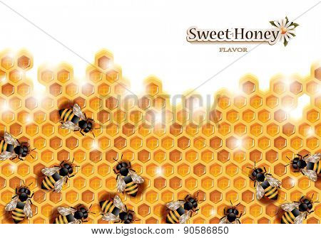 Honey Background with Bees Working on a Honeycomb