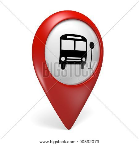 3D red map pointer icon with a bus symbol for public transportation