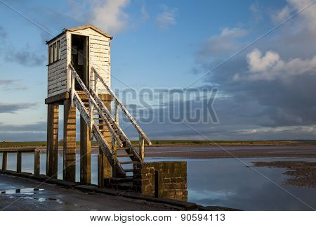 Safety Hut on Holy Island Causeway, Northumberland. England.