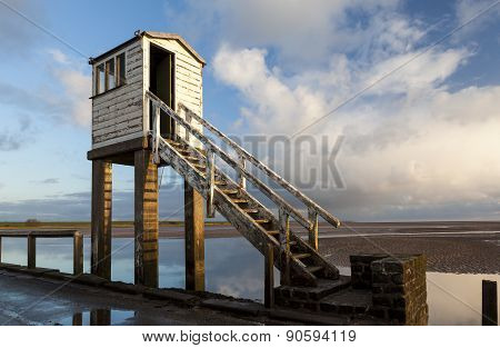 Safety Hut on Holy Island Causeway. Northumberland, England.