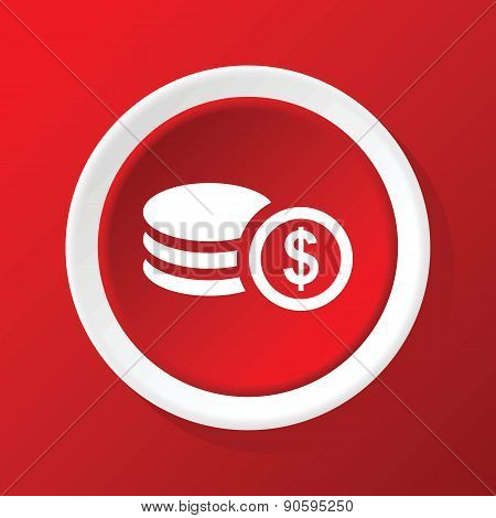 Dollar rouleau icon on red