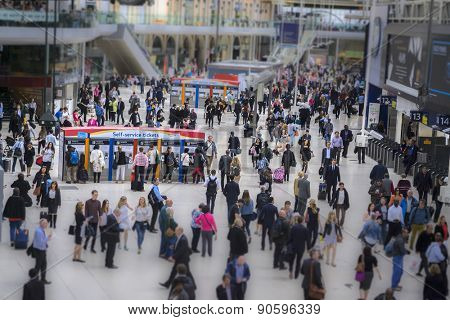 London, England - May 11th, 2015: The busy concourse of Waterloo Railway Station  connects most of South England to the city.
