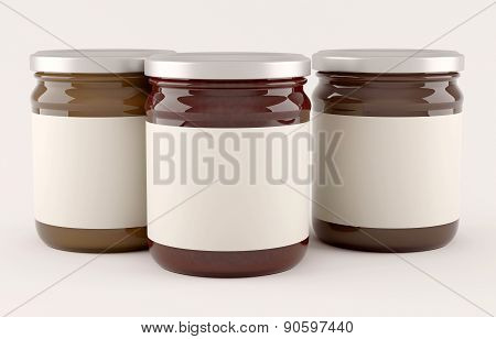 Jars with fruit jam over white background poster