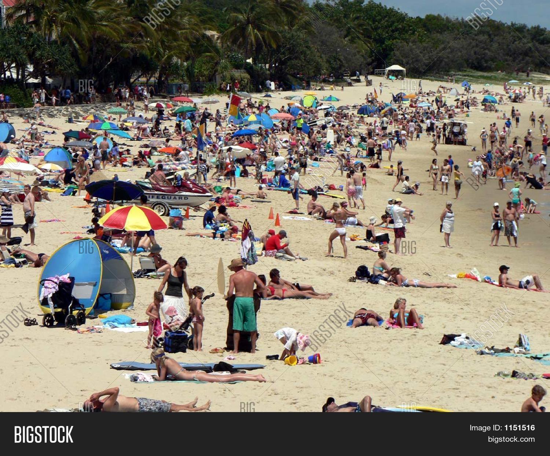 crowded beach scene image & photo (free trial) | bigstock