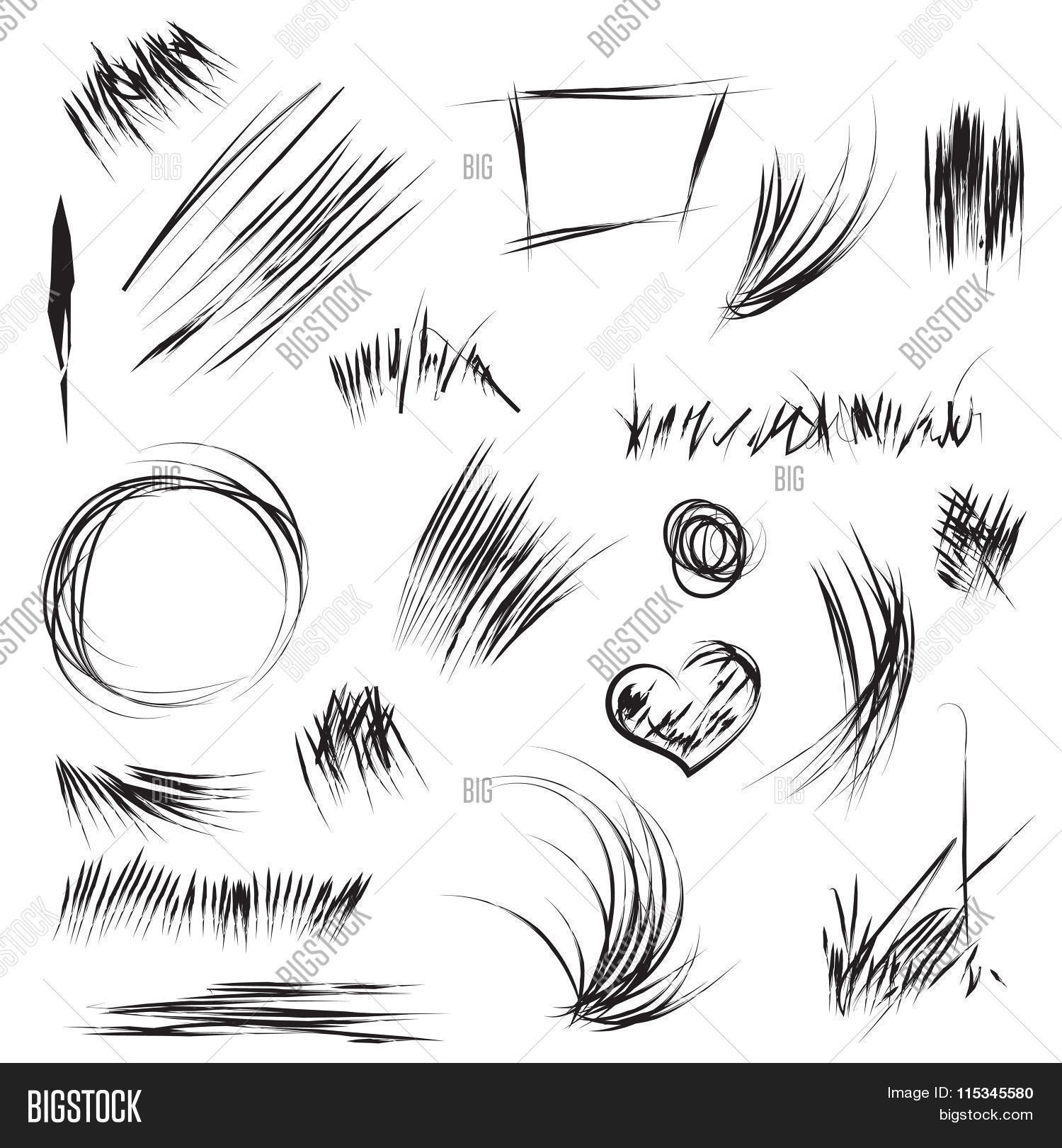 Hand drawn scribble and sketch shapes in vector abstract line and scribble for texture