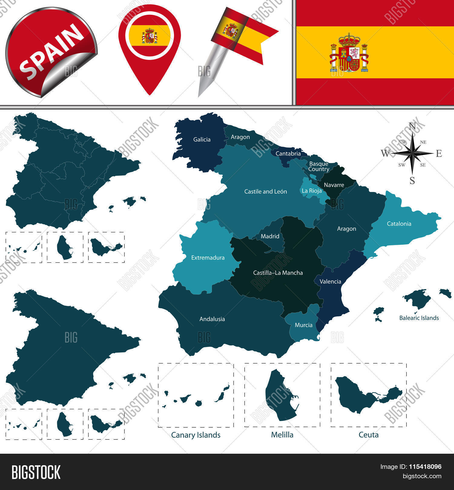 Map Of Spain Vector Free.Map Spain Vector Photo Free Trial Bigstock