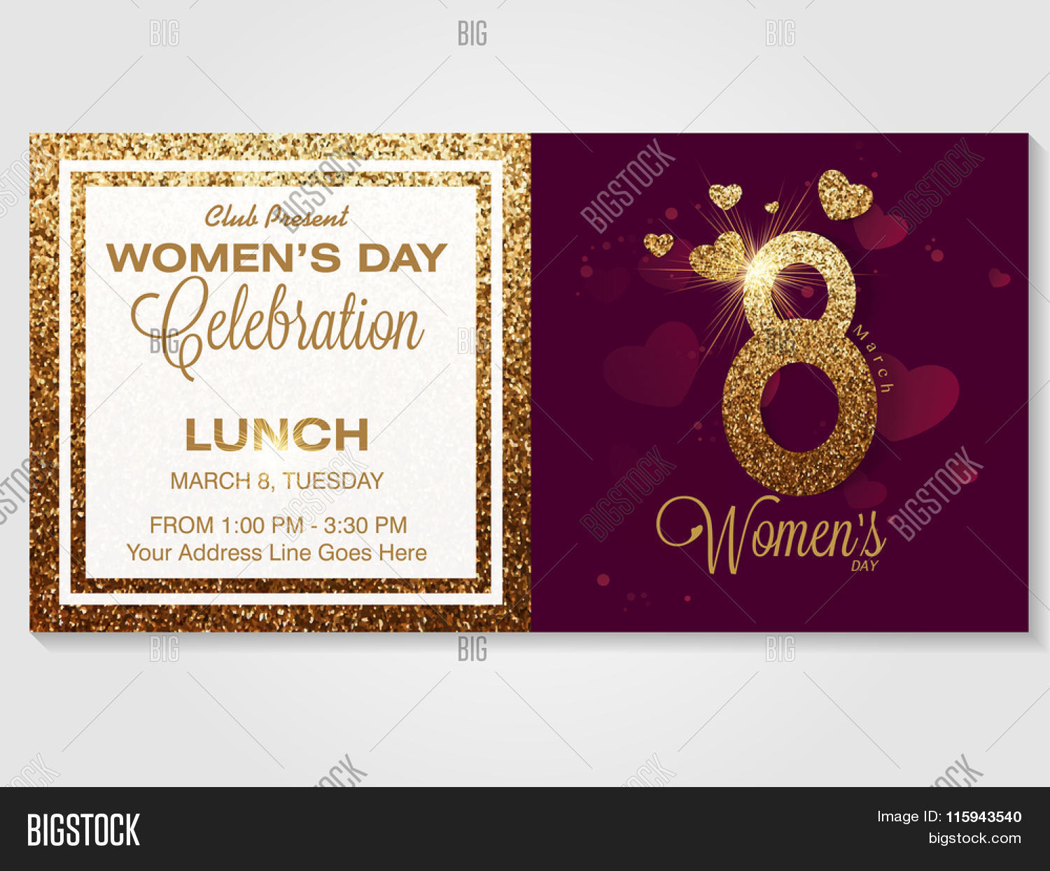 Elegant invitation vector photo free trial bigstock elegant invitation card design with creative golden text 8 march for happy womens day celebration stopboris Image collections