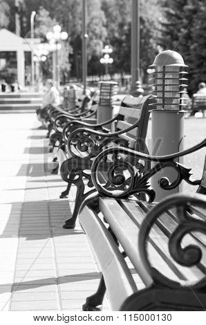 Benches Stand In A Row