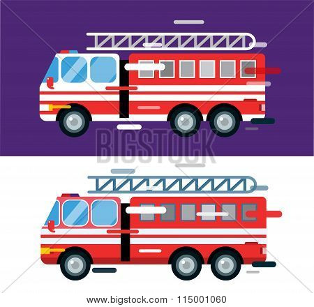 Fire truck car isolated cartoon silhouette