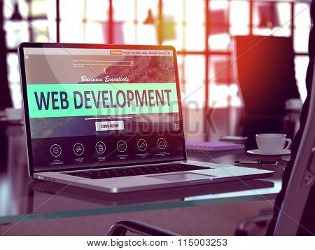 Web Development Concept on Laptop Screen.