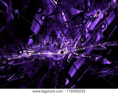 Abstract technology style digitally generated purple background