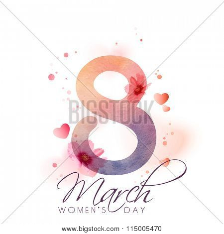Greeting card design with stylish text 8 March on hearts and flowers decorated background for Happy International Women's Day celebration.