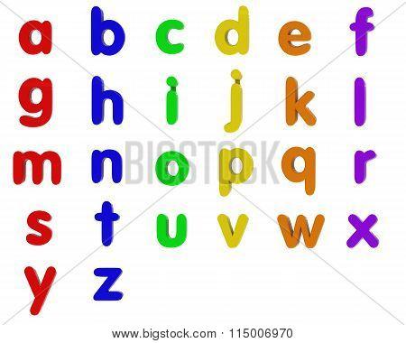 Fridge Magnet Lowercase Alphabet Letters Isolated On White